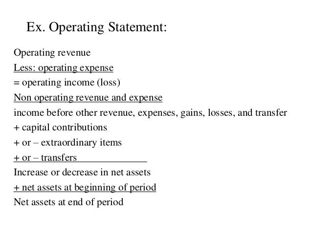 Ex. Operating Statement: Operating revenue Less: operating expense = operating income (loss) Non operating revenue and exp...