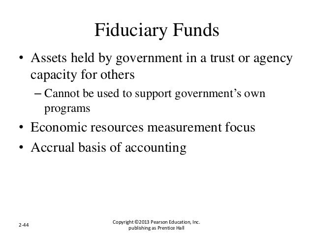 Fiduciary Funds • Assets held by government in a trust or agency capacity for others – Cannot be used to support governmen...