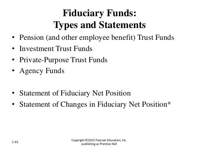 Fiduciary Funds: Types and Statements • Pension (and other employee benefit) Trust Funds • Investment Trust Funds • Privat...