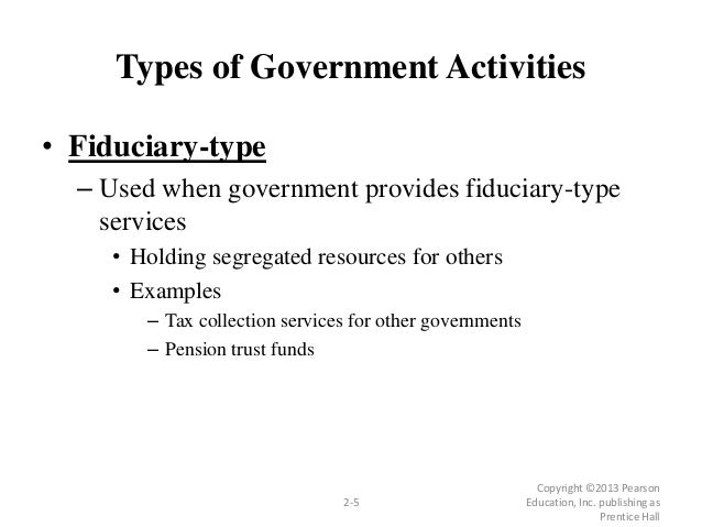 Types of Government Activities • Fiduciary-type – Used when government provides fiduciary-type services • Holding segregat...