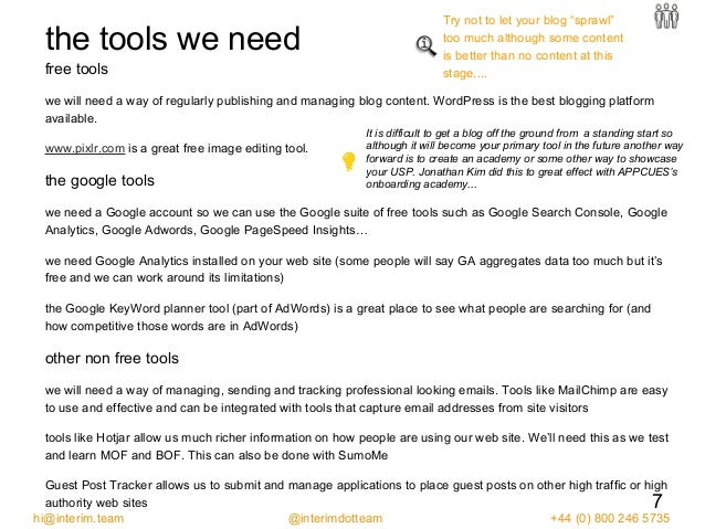 the tools we need free tools we will need a way of regularly publishing and managing blog content. WordPress is the best b...