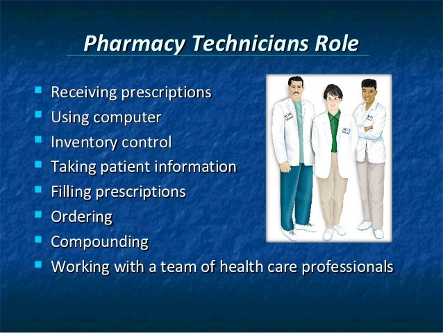 the role of institutional pharmacy technicians The role of a pharmacy technician in an institutional or hospital setting may be slightly different than a retail technician if working in an out patient pharmacy where patients pick up their prescriptions to take home, the duties of a pharmacy technician are similar to those in retail.