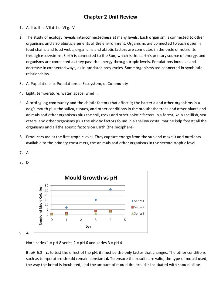 Chapter 2 Unit Review1. A. II b. III c. VII d. I e. VI g. IV2. The study of ecology reveals interconnectedness at many lev...