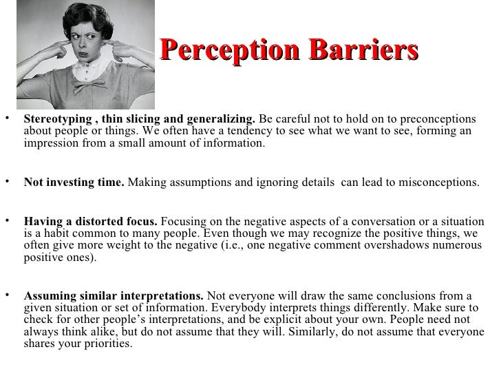 perceptual barrier with examples