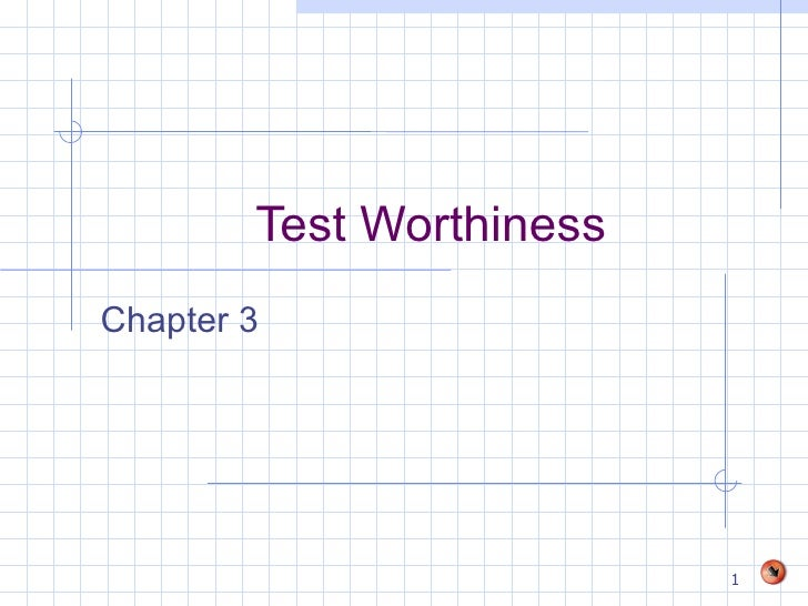 Test Worthiness Chapter 3