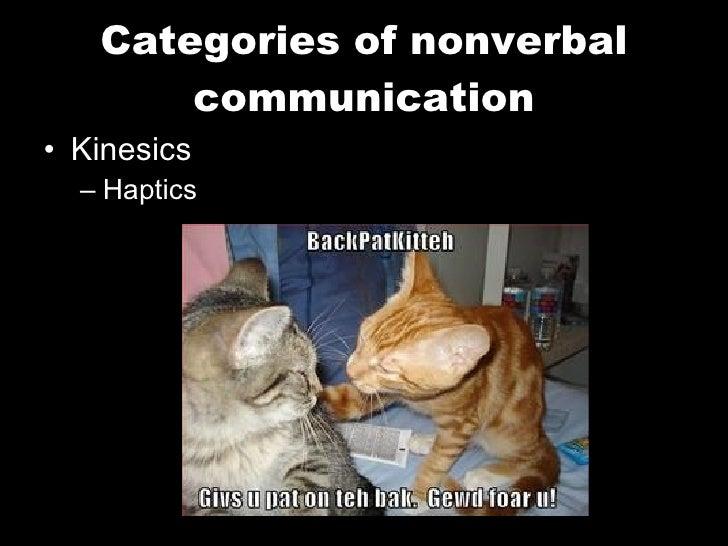 Categories of nonverbal communication <ul><li>Kinesics </li></ul><ul><ul><li>Haptics </li></ul></ul>