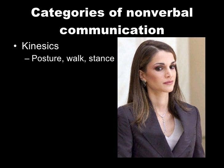 Categories of nonverbal communication <ul><li>Kinesics </li></ul><ul><ul><li>Posture, walk, stance </li></ul></ul>