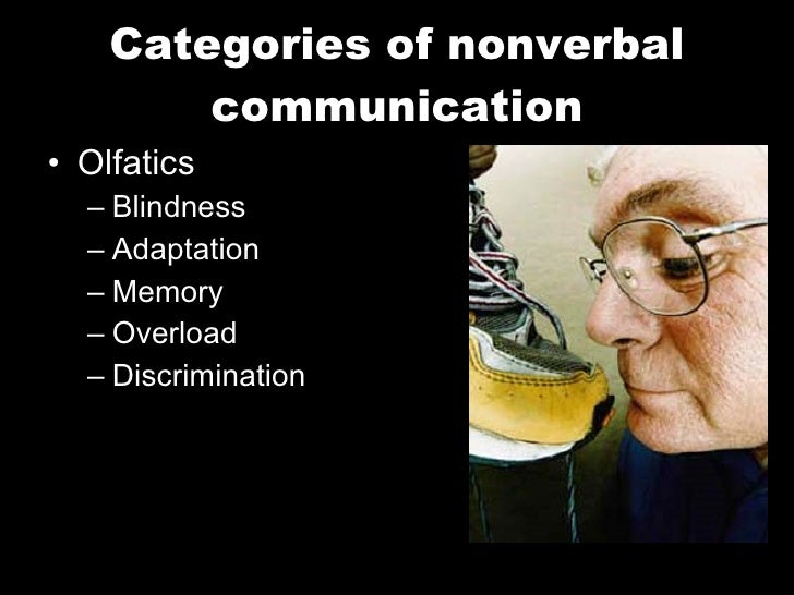 Categories of nonverbal communication <ul><li>Olfatics </li></ul><ul><ul><li>Blindness </li></ul></ul><ul><ul><li>Adaptati...