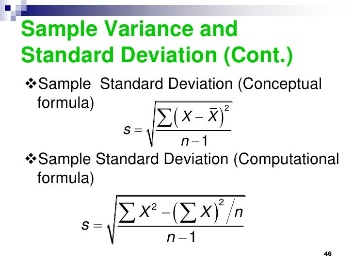 Sample Variance Calculating Variance And Standard Deviation
