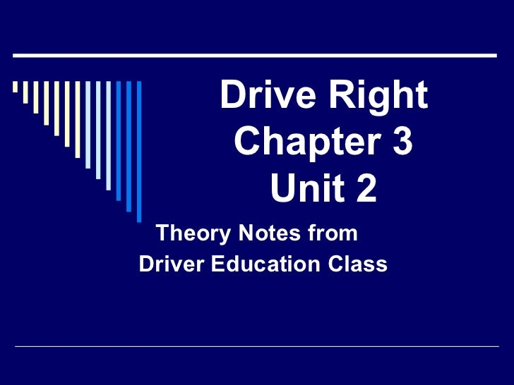 Drive Right Chapter 3 Unit 2 Theory Notes from  Driver Education Class