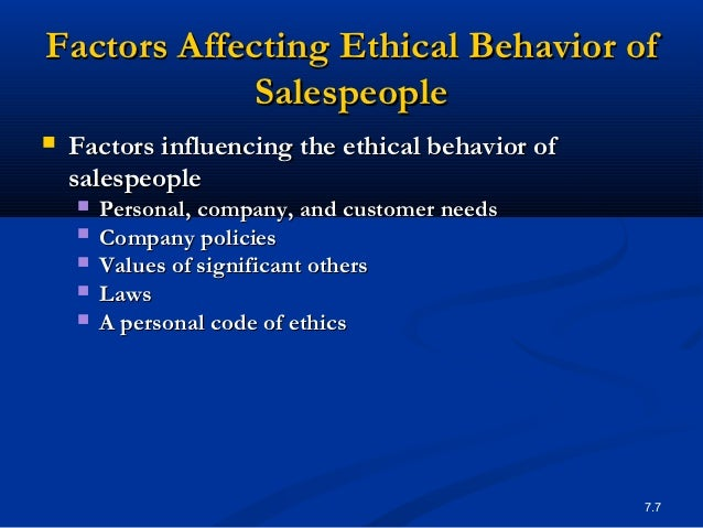 factors affecting ethical behavior A model of ethical behavior is presented, and factors affecting ethical behavior are discussed how those attitudes affect work behavior 10 describe the stages of cognitive moral development how does this concept affect ethical behavior in organizations.