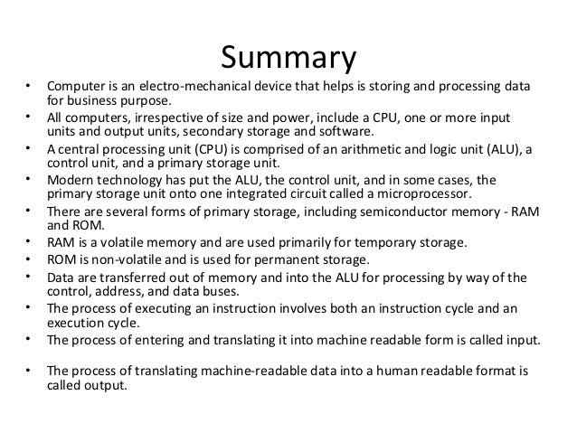 a summary of different memory sizes of central processing unit in computer technology Department of computer science and engineering, iit guwahati  include the instruction set, the number of bits used to represent different data types, i/o  in addition, cpu may have some additional registers for temporary storage of data  a memory module of capacity 16 x 4 indicates that, there are 16 location in the .