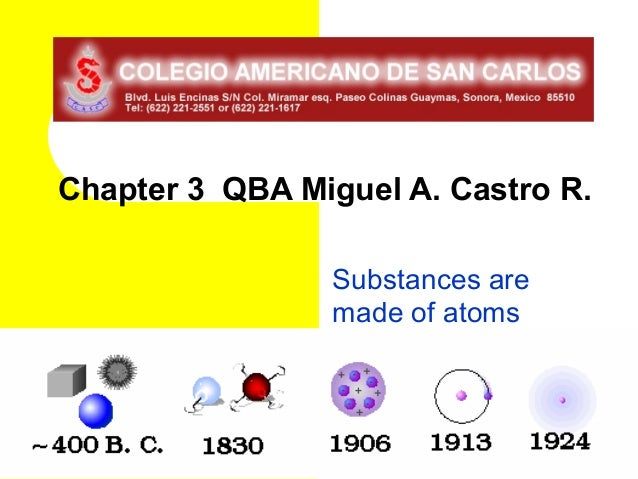 Chapter 3 QBA Miguel A. Castro R.                Substances are                made of atoms