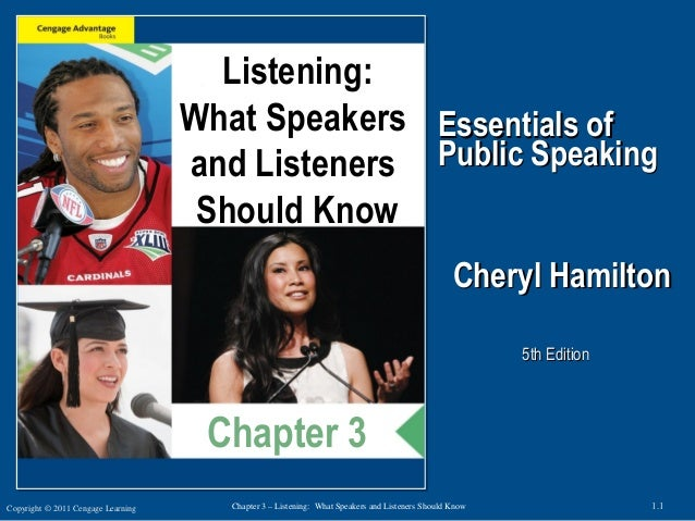 Copyright © 2011 Cengage Learning 1.1Chapter 3 – Listening: What Speakers and Listeners Should Know Essentials ofEssential...