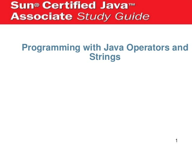 Programming with Java Operators and Strings  1