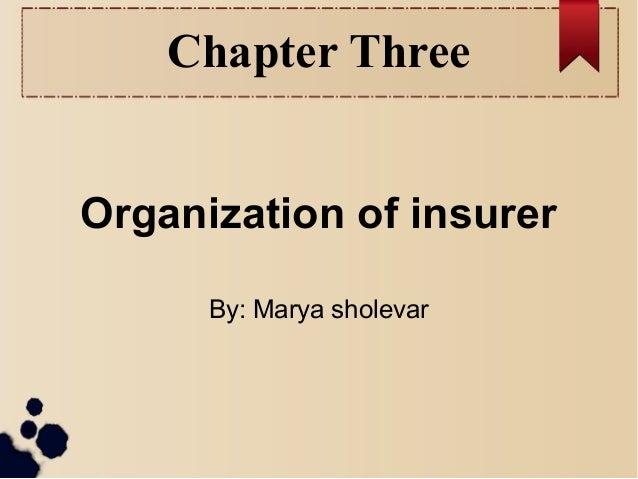 Chapter Three  Organization of insurer  By: Marya sholevar
