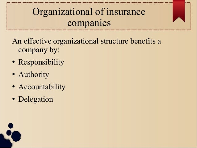 Organizational of insurance  companies  An effective organizational structure benefits a  company by:  ● Responsibility  ●...
