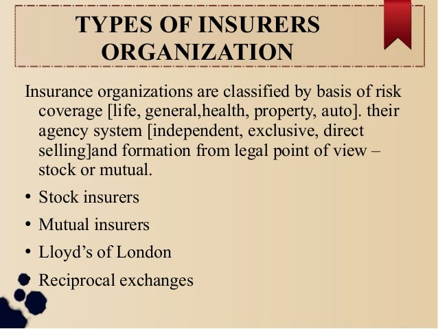 TYPES OF INSURERS  ORGANIZATION  Insurance organizations are classified by basis of risk  coverage [life, general,health, ...