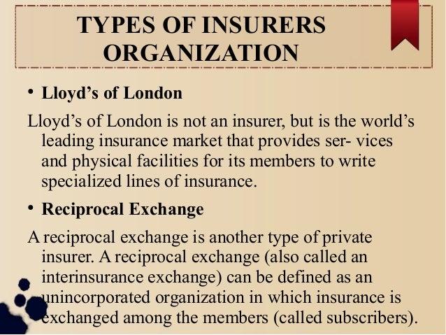 TYPES OF INSURERS  ORGANIZATION  ● Lloyd's of London  Lloyd's of London is not an insurer, but is the world's  leading ins...