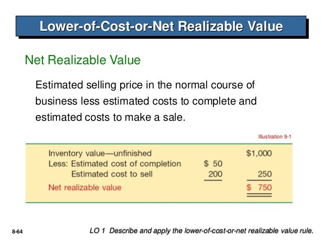 net realizable value Application of lower of cost or market generally, firms will choose between replacement cost and net realizable value, based upon the reliability of the two.