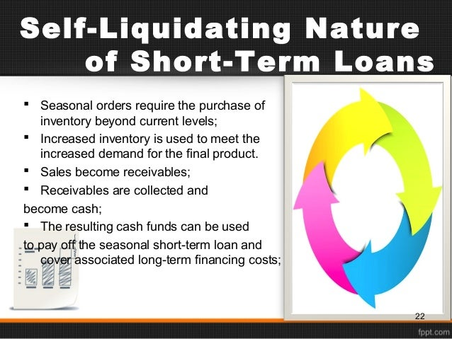 Self liquidating loan definition