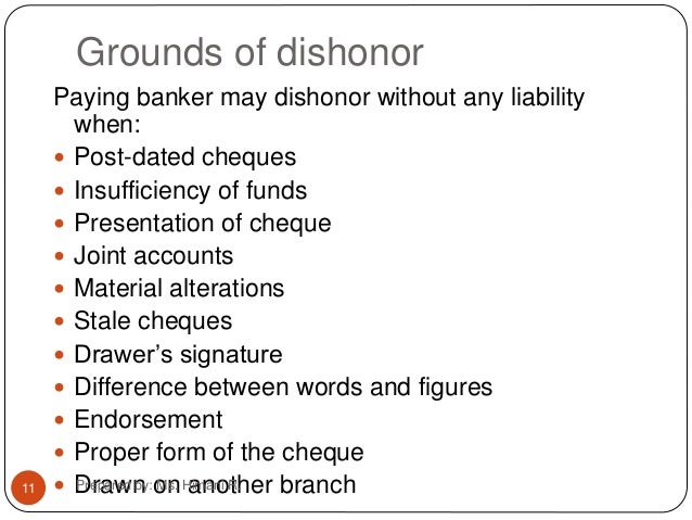 wrongful dishonour of cheque