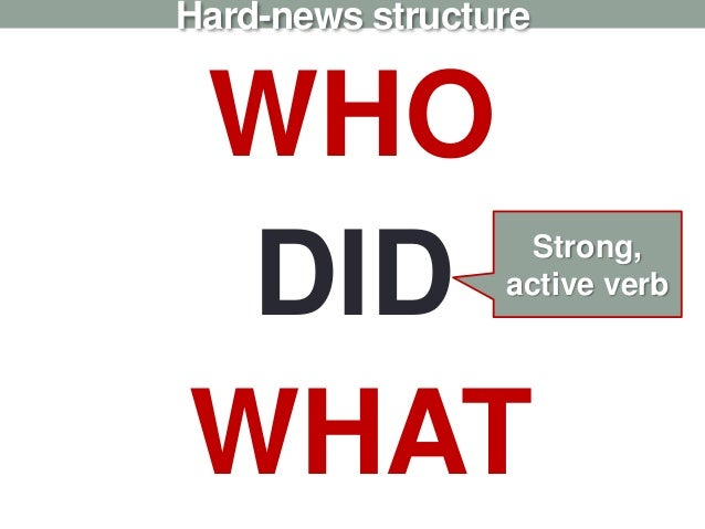 Hard-news structure WHO DID WHAT Strong, active verb