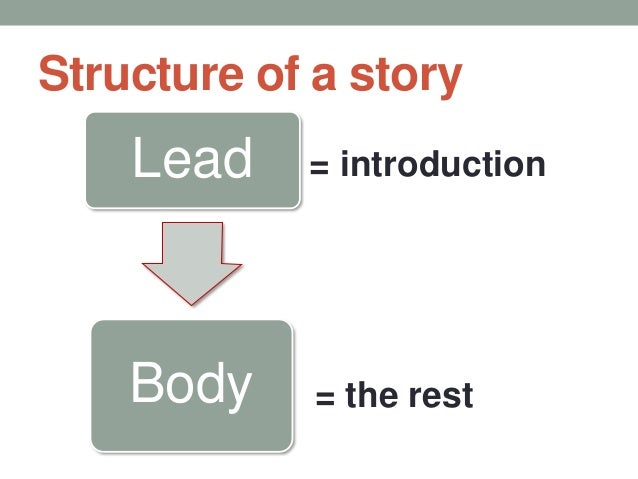Structure of a story Lead Body = introduction = the rest