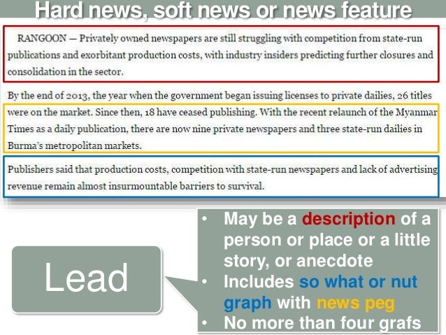 Hard news, soft news or news feature • May be a description of a person or place or a little story, or anecdote • Includes...