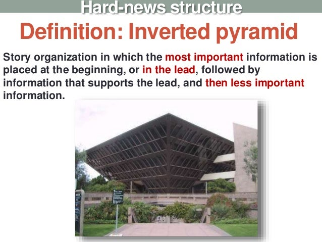 Definition: Inverted pyramid Hard-news structure Story organization in which the most important information is placed at t...
