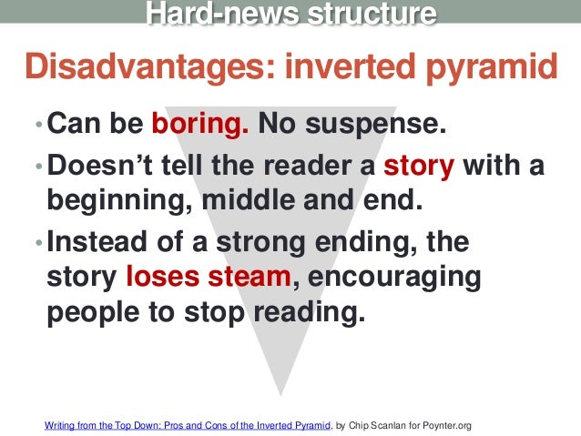 Disadvantages: inverted pyramid •Can be boring. No suspense. •Doesn't tell the reader a story with a beginning, middle and...