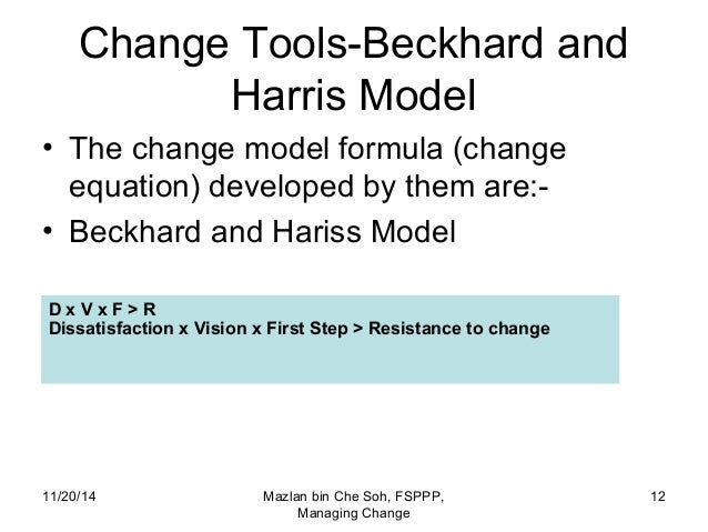 beckhard and harris Change management approaches  the first model was popularised by dick beckhard (beckhard and harris, 1987) and is based on the simple formula: c = (dvf)  r.
