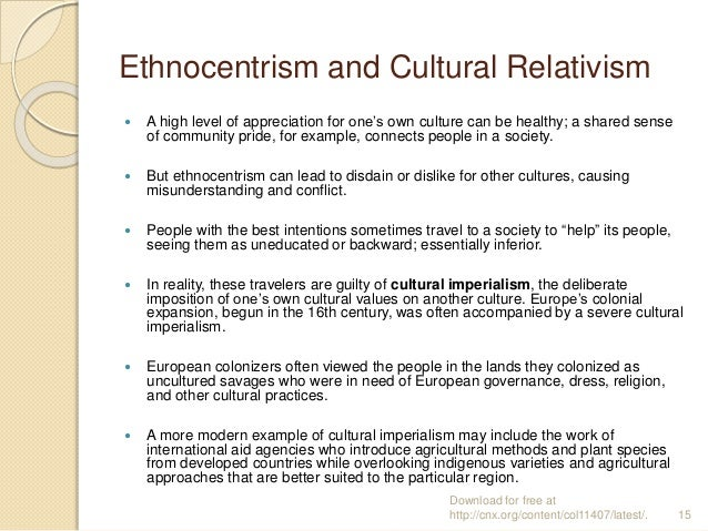 cultural relativism vs. ethnocentrism essay Cultural relativism - cultural relativism - moral, situational and cognitive relativism relative truth pluralism, tolerance and subjectivity right and wrong defined by social norms.