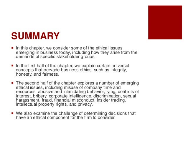 Chapter 3 Business Ethics Issues