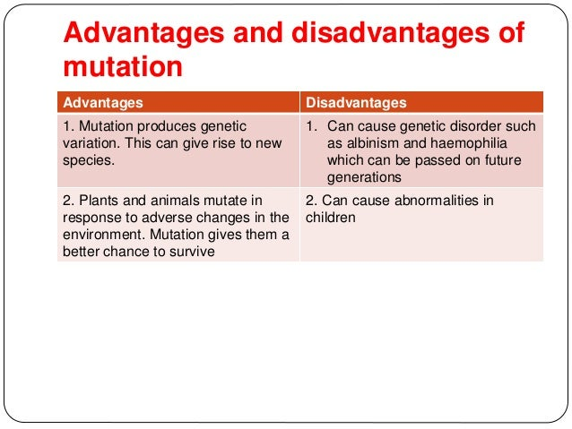 The Advantages and Disadvantages of Mutation