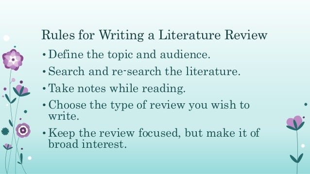 review to the specific problem     Literature     SlideShare