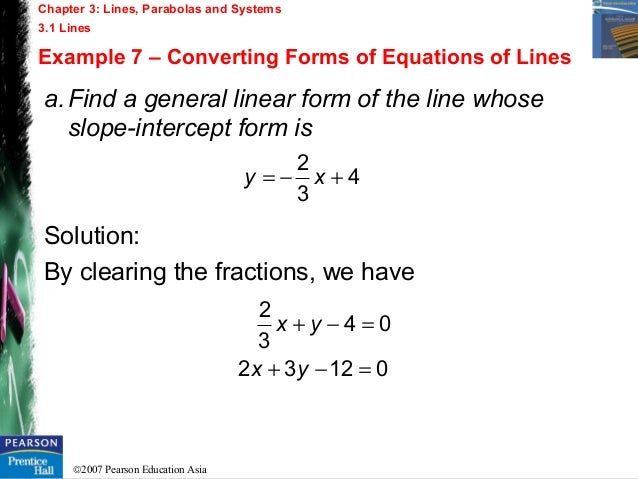 Chapter 3 - Lines , Parabolas and Systems