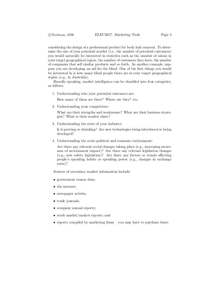 c°Taubman, 2006                ELEC3017: Marketing Tools                   Page 4considering the design of a professional ...