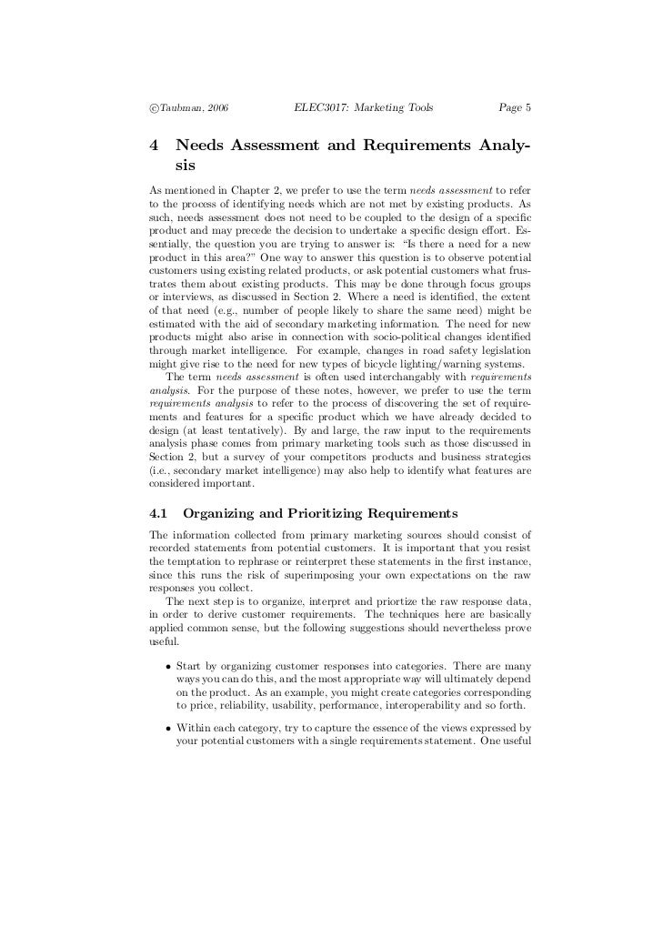 c°Taubman, 2006                 ELEC3017: Marketing Tools                   Page 54     Needs Assessment and Requirements ...