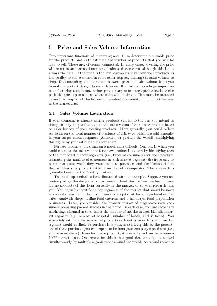 c°Taubman, 2006                ELEC3017: Marketing Tools                   Page 75     Price and Sales Volume InformationT...