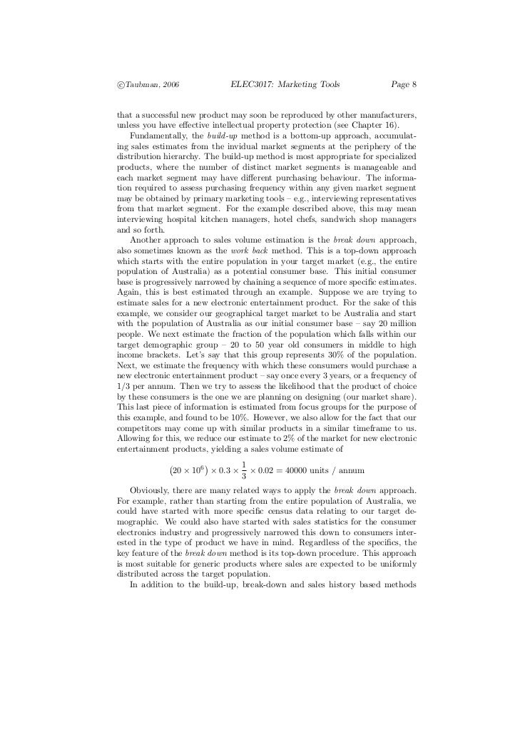 c°Taubman, 2006                ELEC3017: Marketing Tools                  Page 8that a successful new product may soon be ...