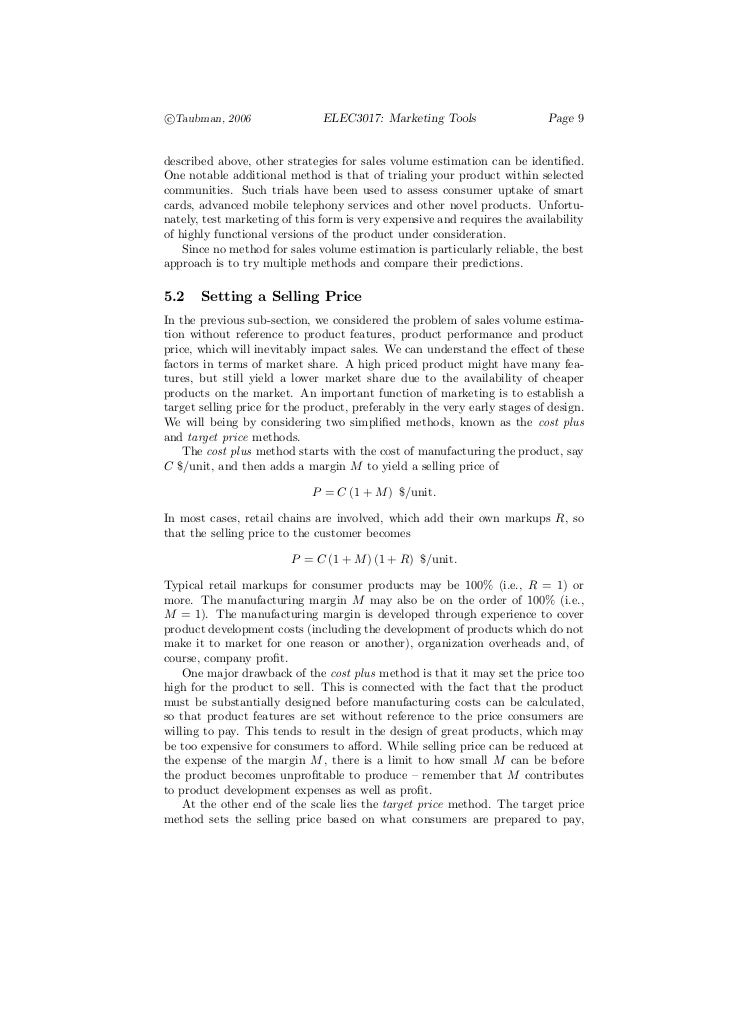 c°Taubman, 2006                 ELEC3017: Marketing Tools                    Page 9described above, other strategies for s...