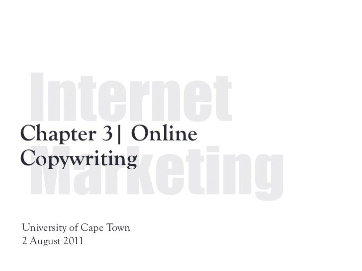Chapter 3| OnlineCopywritingUniversity of Cape Town2 August 2011