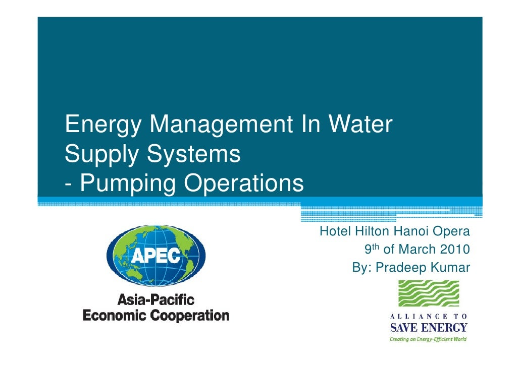 Energy Management In Water Supply Systems - Pumping Operations                     Hotel Hilton Hanoi Opera               ...