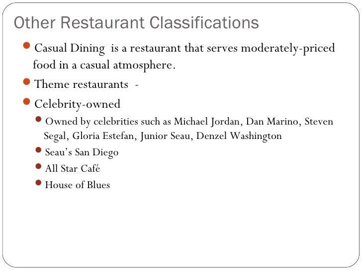 Classifications of restaurants