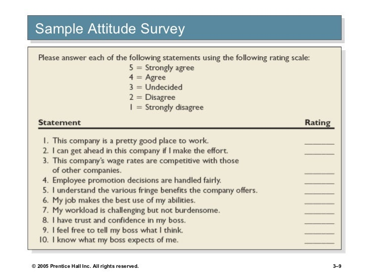 Chapter 3 value attitudes n job satisfaction for Attitude survey template
