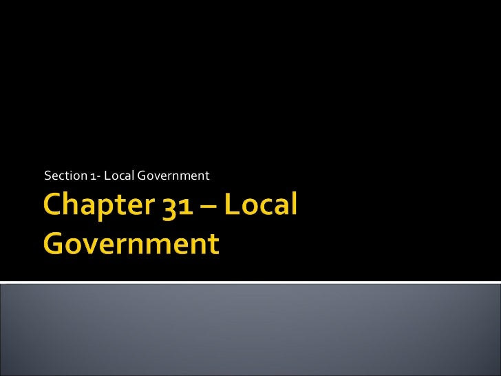 Section 1- Local Government