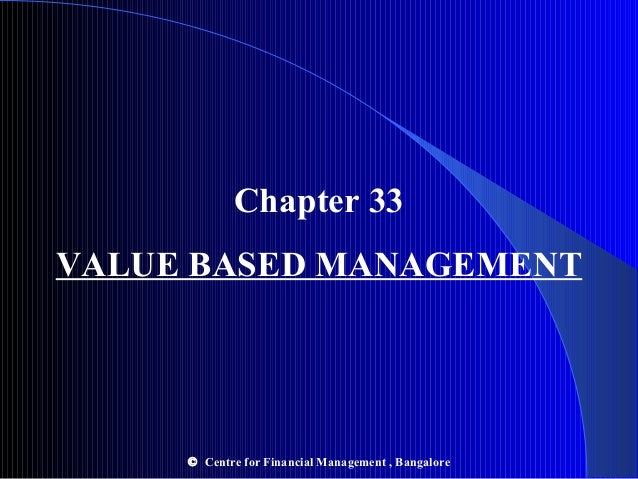 Chapter 33 VALUE BASED MANAGEMENT  © Centre for Financial Management , Bangalore