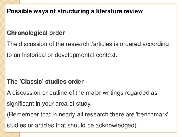 Literature review chronological order