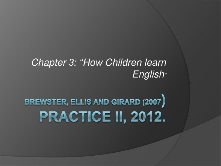 """Chapter 3: """"How Children learn                      English"""""""